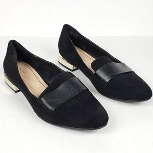 Aldo Leather Black & Gold Heel Flat Loafers 8.5